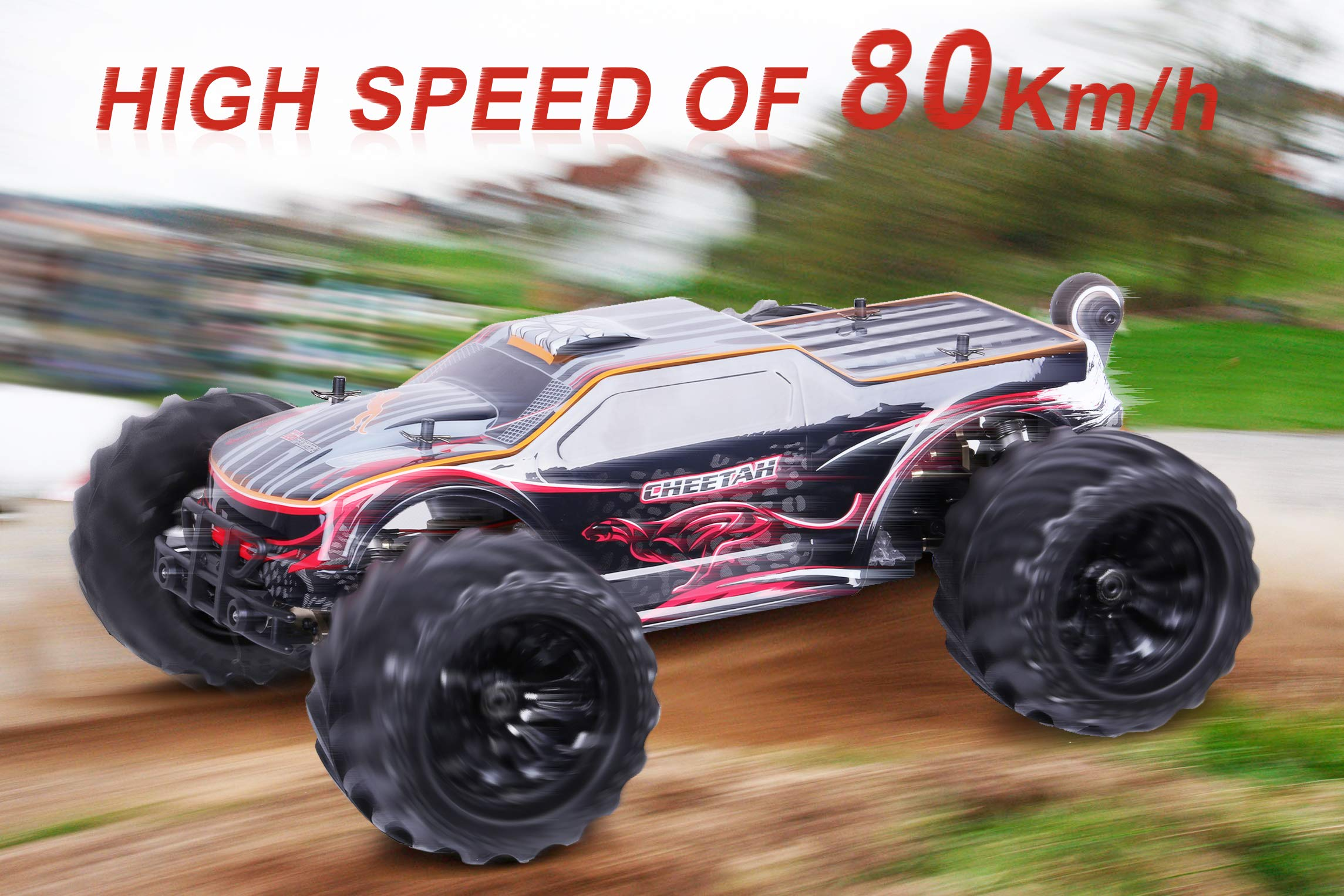JLBRACINGRC Super Fast 1/10 Scale Cheetah RC Car, 80 KM/H 4WD 2.4GHZ RC Truck with 120A ESC IPX7 Waterproof 3670 2500KV Brushless Motor Wheelie Function 4x4 Off Road RTR RC Monster Truck for Adults by JLBRACINGRC (Image #2)