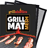 Grillaholics BBQ Mesh Grill Mat - Set of 2 Grill Mats Non Stick - Nonstick Grilling with More Delicious Smoky Flavor - Lifetime Manufacturer Warranty
