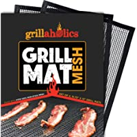 Grillaholics BBQ Mesh Grill Mat - Set of 2 Grill Mats Non Stick - Nonstick Grilling More Delicious Smoky Flavor…