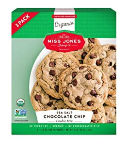 Miss Jones Baking Organic Cookie Mix, Non-GMO, Vegan-Friendly, Packed with Morsels: Sea Salt Chocolate Chip (3 Count Case)