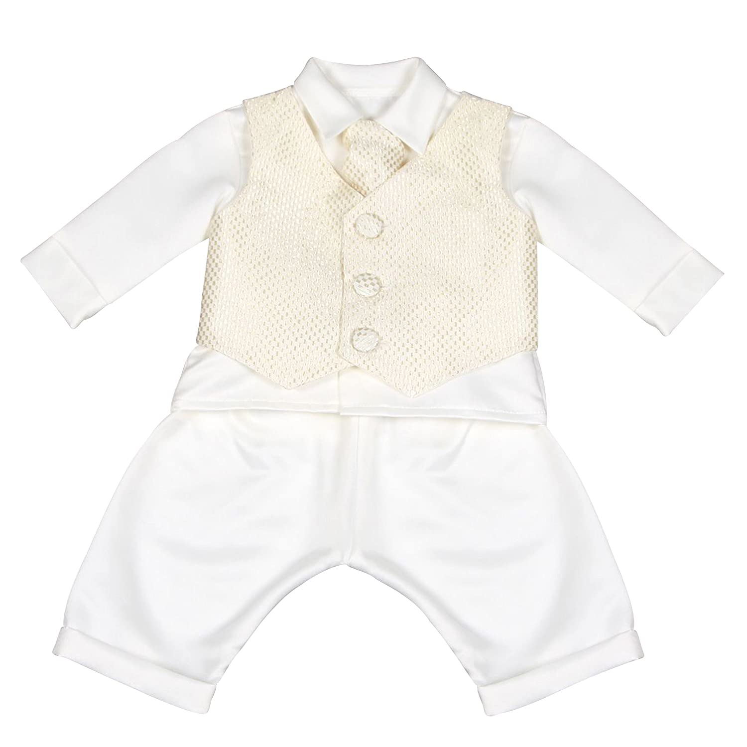 4 Piece Leo Christening Suit in White