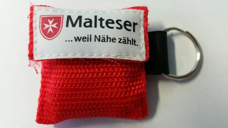 Malteser Beatmungstuch Schlü sselanhä nger Taschenmaske CPR-Tuch fü r den Schlü sselbund *LifeKey* (rot) 1A Medizintechnik