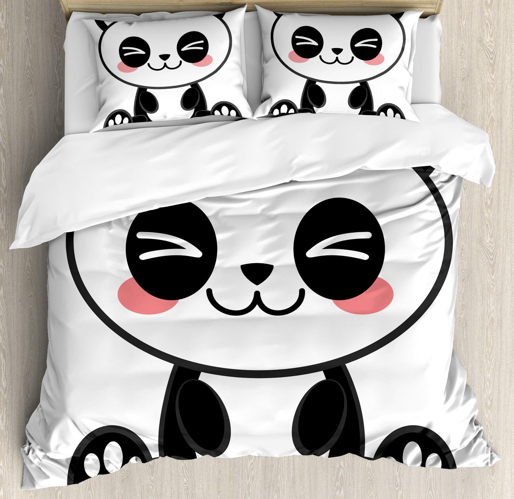 Anime Duvet Cover Set by Ambesonne, Cute Cartoon Smiling Panda Fun Animal Theme Japanese Manga Kids Teen Art Print, 3 Piece Bedding Set with Pillow Shams, Queen / Full, Black White Gray