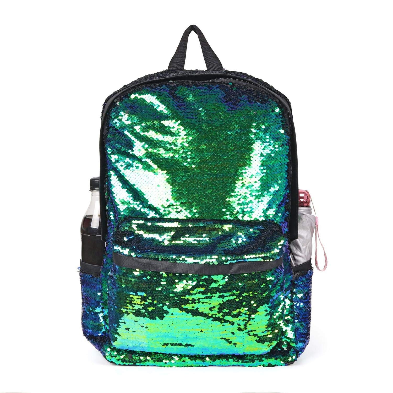 Youth Union リバーシブル マジック スパンコール バックパック スクールバッグ 軽量 旅行 マーメイド キラキラ バックパック 女の子 男の子  グリーン B07GDD6SKL