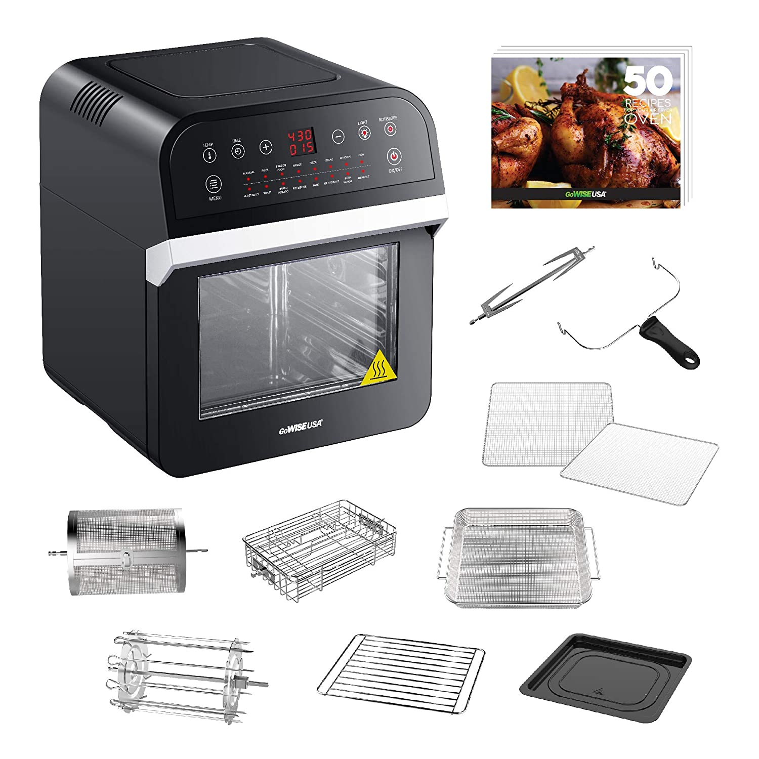 GoWISE USA GW44800-O Deluxe 12.7-Quarts 15-in-1 Electric Air Fryer Oven w Rotisserie and Dehydrator 50 Recipes Black