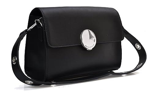 e2d84636eb David Jones - Petit Sac porté épaule ou bandoulière - Noir - Bandoulière  œillet et fermoir effet miroir - 24 cm (L) x 17,5 cm (H) x 10 cm (E) - Simili  cuir ...