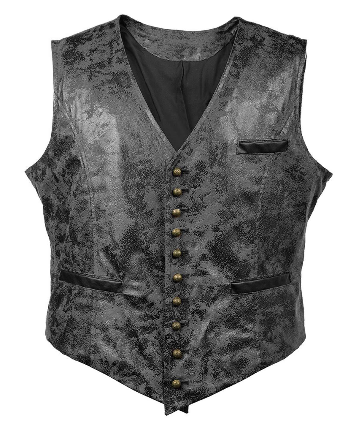 Bslingerie Mens Steampunk Faux Leather Cowboy Waist Coat Vest (M, Black Vest) by Bslingerie