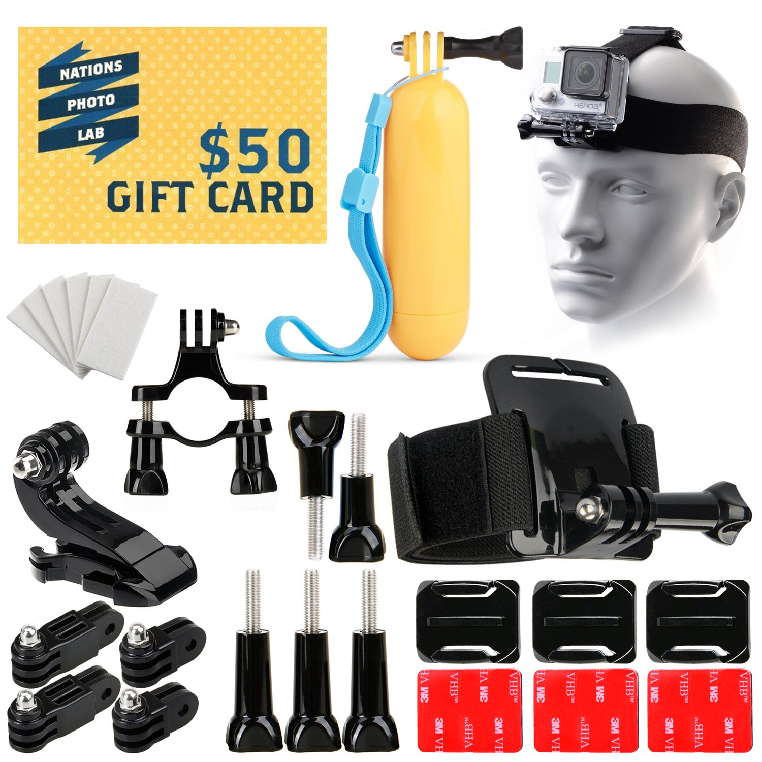 34-in-1 Set of Head, Bike & Helmet Mount Floating Monopod Anti-Fog Inserts Accessories Kit for GoPro Hero 4 3 3+ 2 Plus Silver Black Session 34PC Outdoor Sport Bundle and
