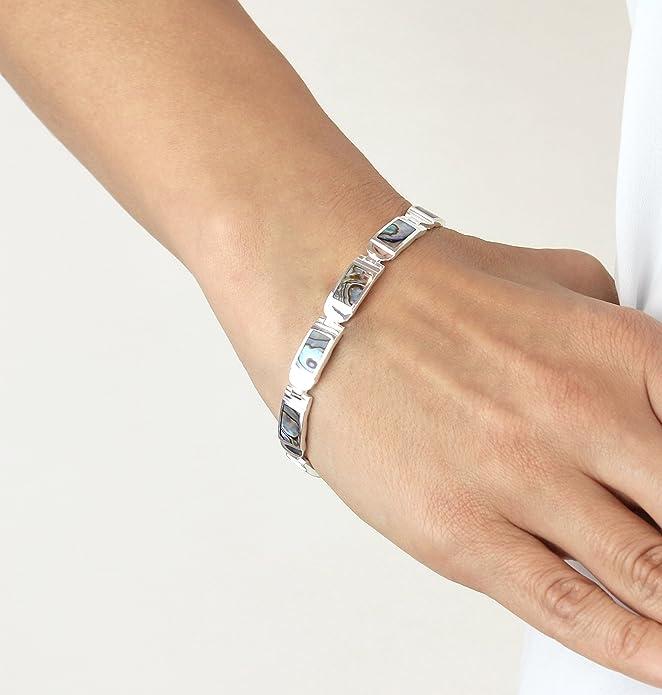 Tuscany Silver Sterling Silver Rectangle Paua Shell Bar Bracelet of 18cm/7 vIcBno1wbO