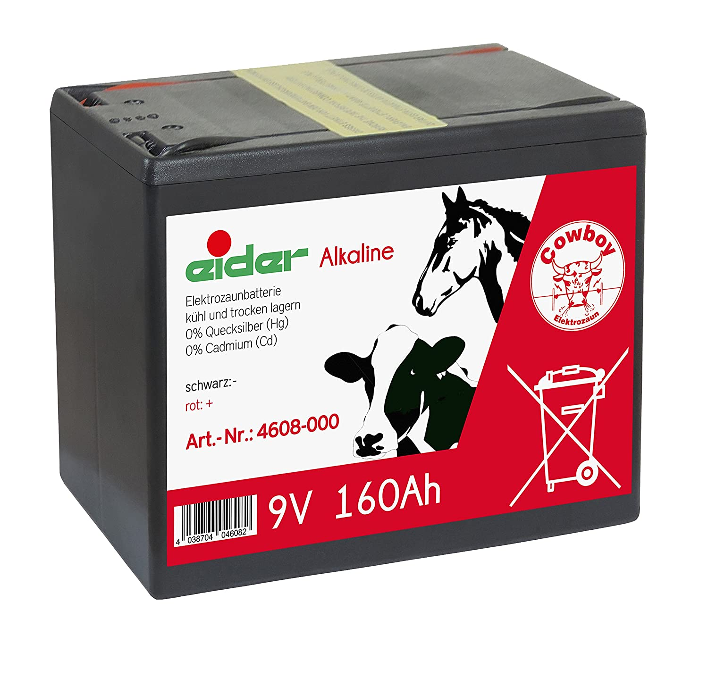 Eider Batterie Sparpack 4X 9V-Alkaline-Trockenbatterie 160 AH Lange Laufzeit /& G/ünstiger Preis f/ür 9 Volt Weidezaunger/äte