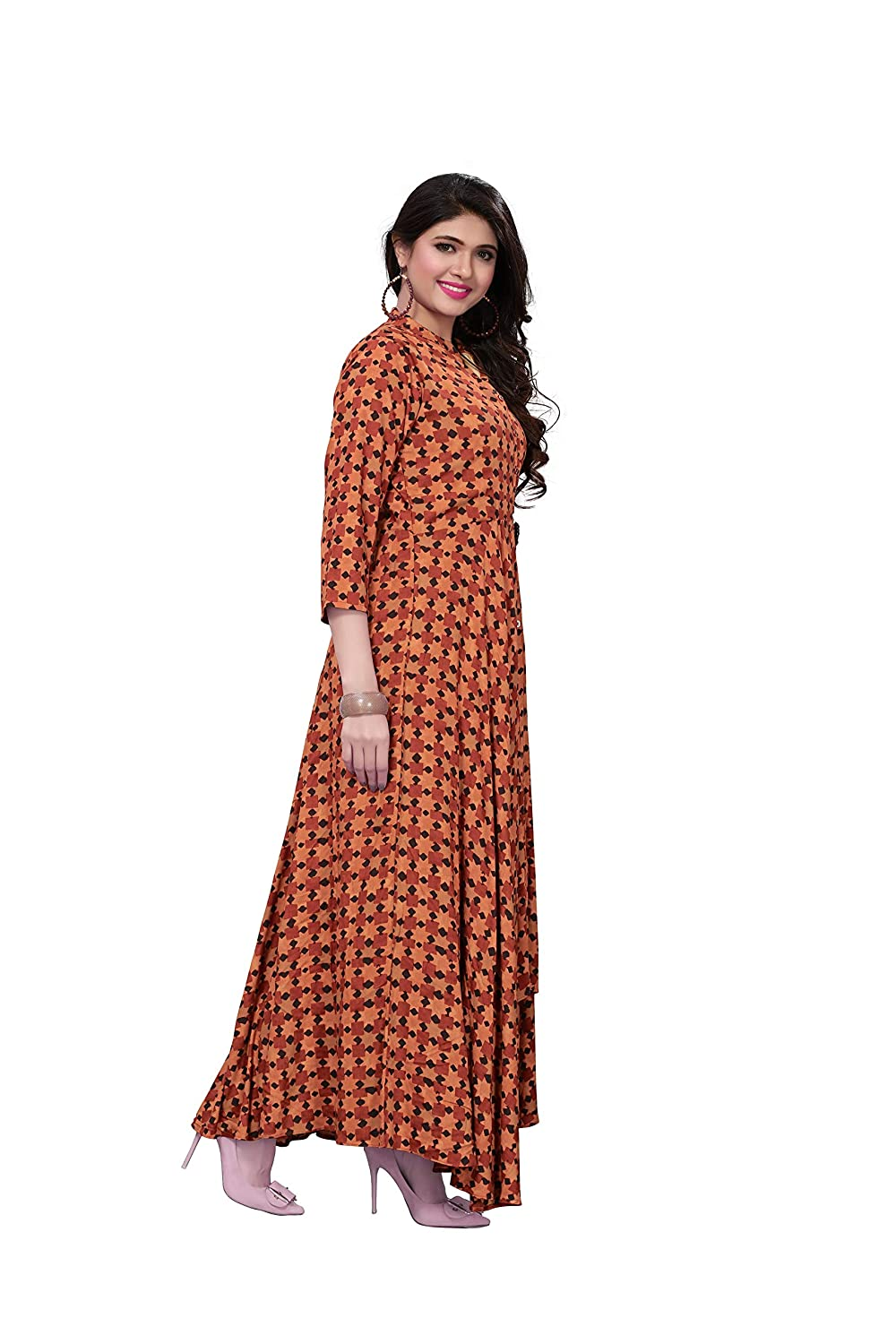 Royal Export Women s Brown Printed Rayon Gown  Amazon.in  Clothing    Accessories 0bd3c6e96