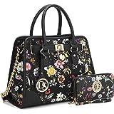 Dasein Women's Designer Handbags Padlock Belted Satchel Bags Top Handle Handbag Purse Shoulder Bag w/Matching Wallet