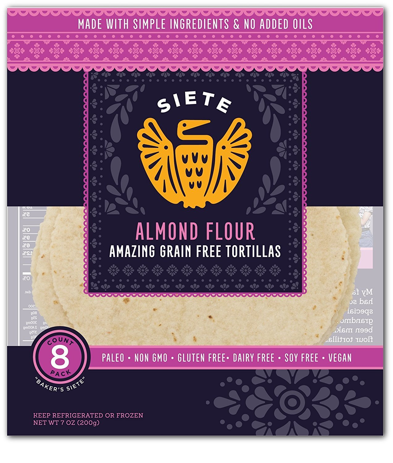 Siete Almond Flour Tortillas, Paleo Approved, 8 count (4 Pack)
