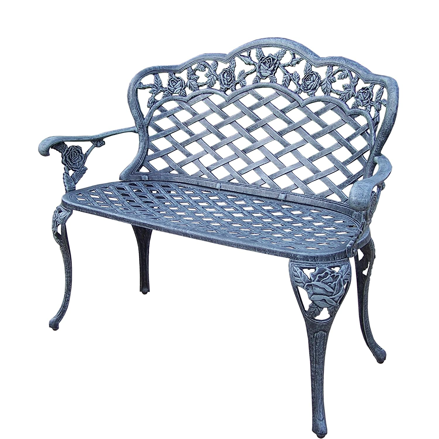 Oakland Living Tea Rose Cast Aluminum Love Seat Bench, Verdi Grey