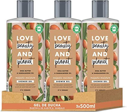 Love Beauty and Planet Gel de Ducha para Piel nutrida, Manteca de Karité y Sándalo Vegano - Pack de 3 x 500 ml (Total: 1500 ml): Amazon.es: Belleza
