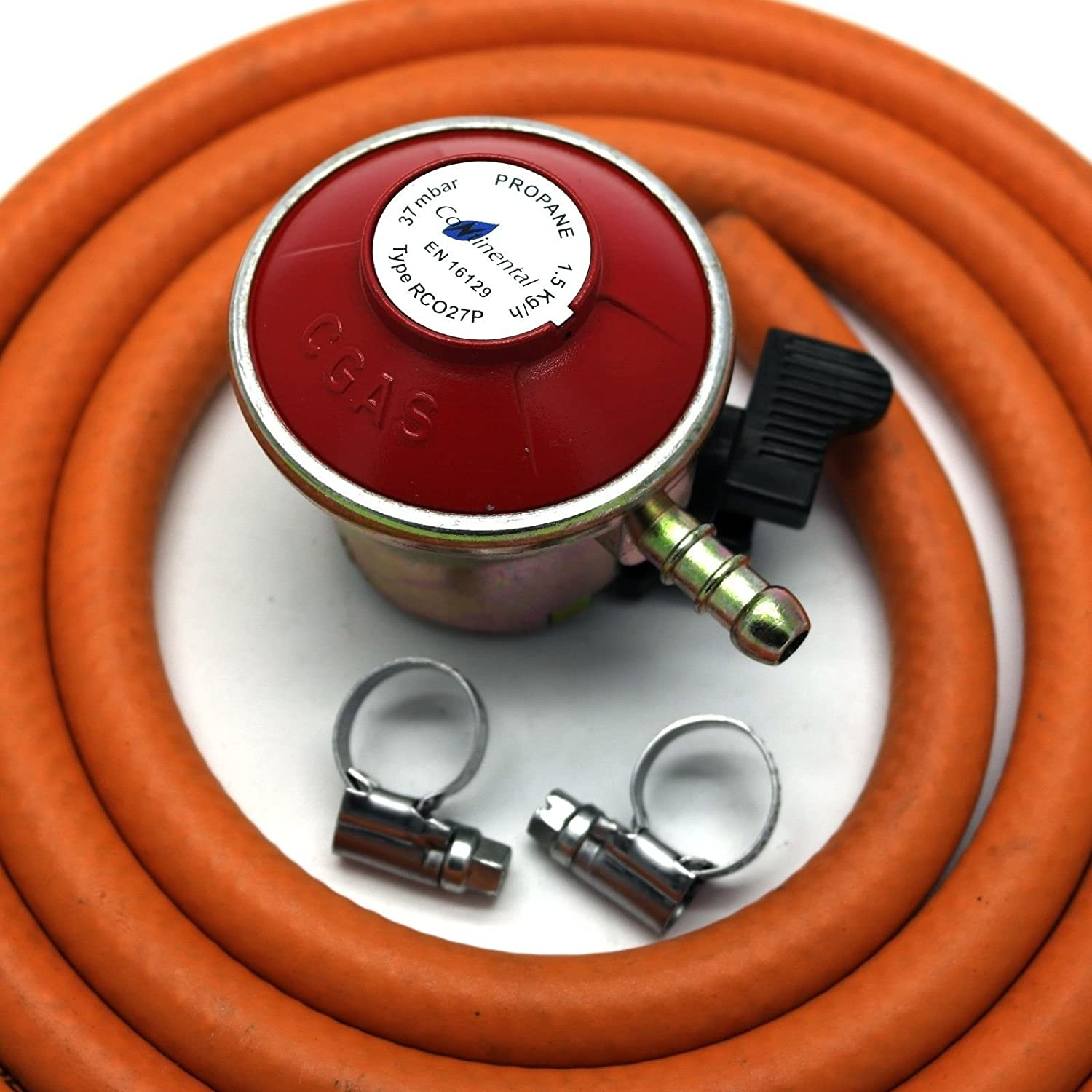Patio Gas Regulator 27Mm Clip On With 1M Hose + 2 Clips Fits Calor / Flogas Unbranded