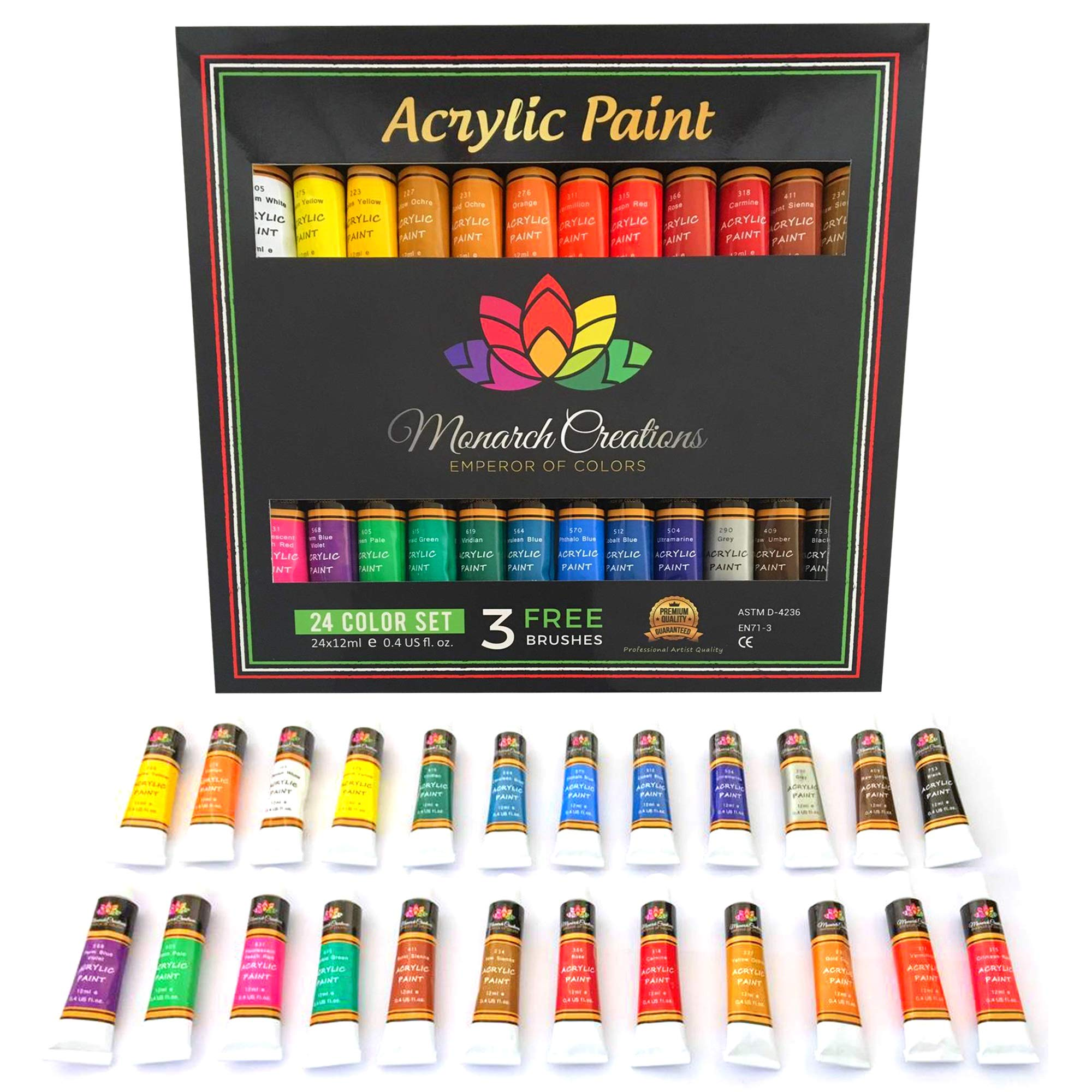 Acrylic paint set 24 colors for Artists. Brush set. Paint kit for Canvas, Rocks, Wood, Ceramic, Fabric, Crafts. Non-Toxic & Vibrant-Perfect for Adults, Kids, Beginners, students. Rich Pigment & qualit by Monarch Creations