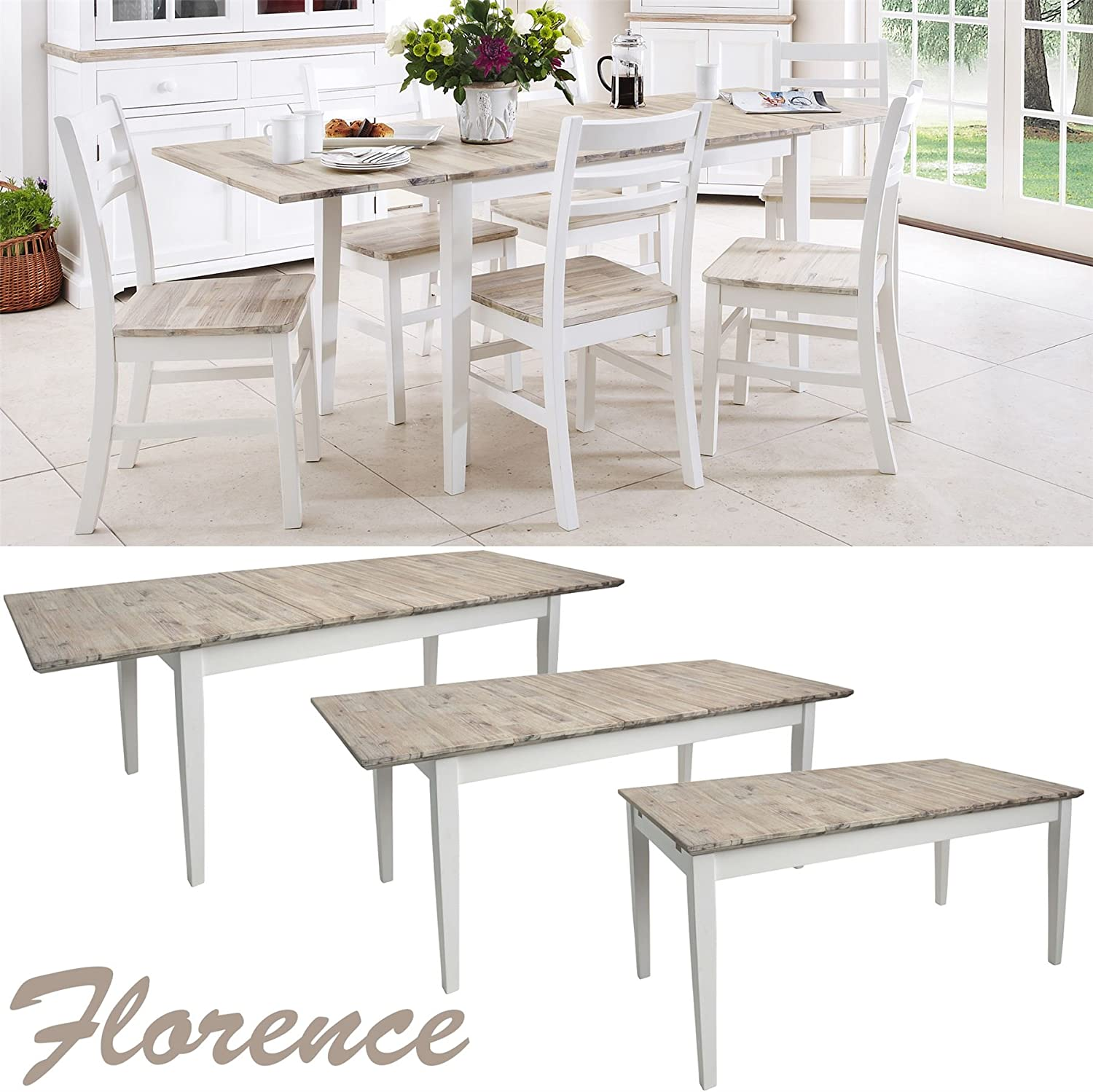 Florence Large Rectangular Dining Table White Extendable Kitchen Table Center Extension Extends To 3 Sizes 140 170 200 Amazon Co Uk Kitchen Home