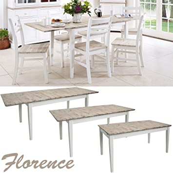 Florence Large Rectangular Dining Table White Extendable Kitchen Center Extension Extends To