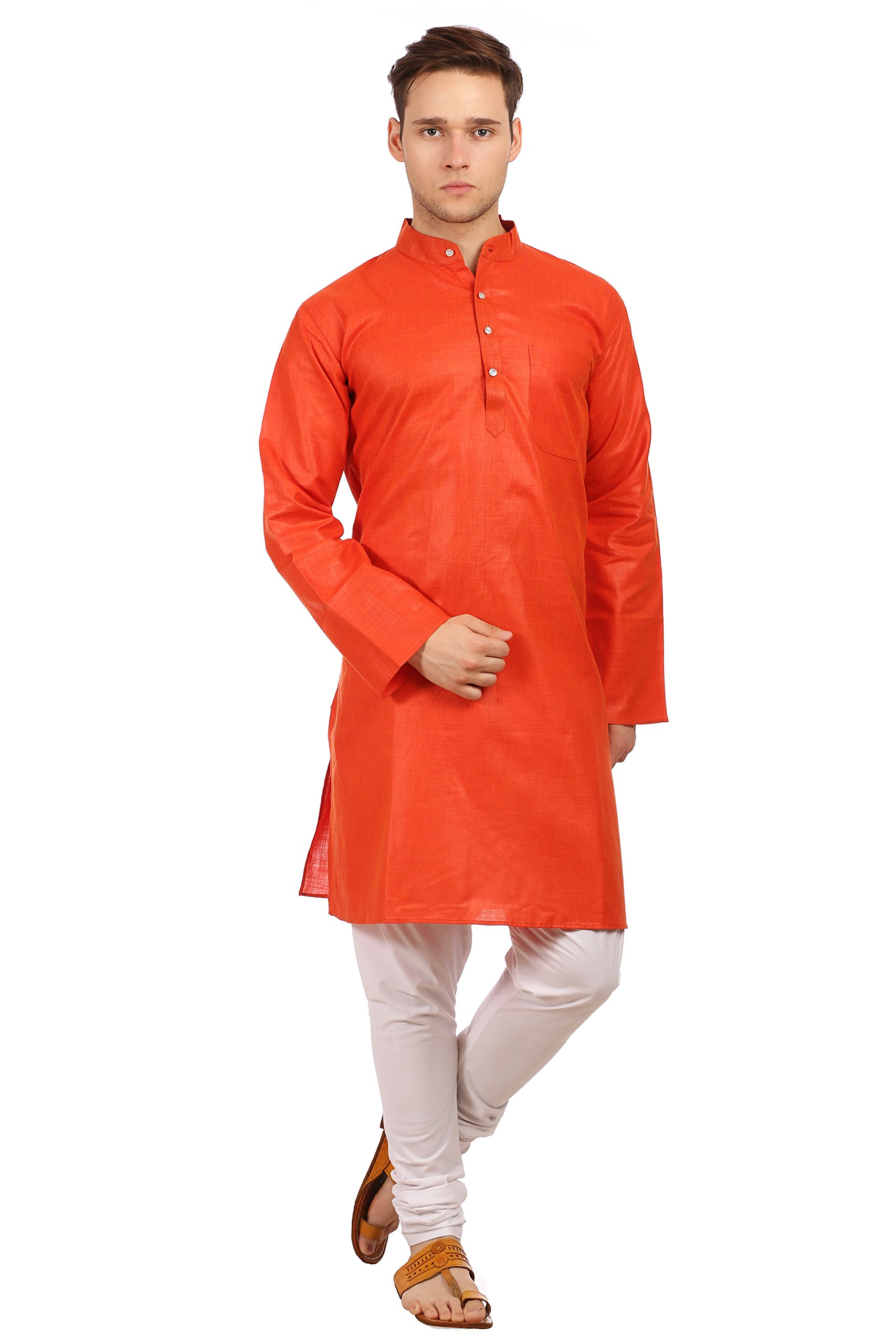 WINTAGE Men's Cotton Silk Festive and Casual Rust Kurta Pyjama
