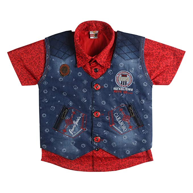 bbb99c3a2d LK Vyapaar 3pc Boys Cotton Red Shirt Denim Jacket Pant Set Partywear  Festivewear Size-M