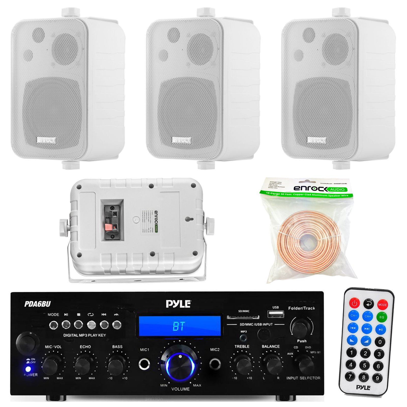 Pyle PDA6BU 200-Watt 2-Channel Digital USB/AUX FM Radio Stereo Amplifier Receiver, Bundle Combo With 4x Enrock EKMR408W 4'' Inch 200-Watt 3-Way White Box Speakers, 50 Feet 18-Gauge Speaker Wire