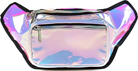 be7caaf70cf3 SoJourner Holographic Rave Fanny Pack - Packs for festival women, men |  Cute Fashion Waist Bag Belt Bags (Luminous Pink & Blue)