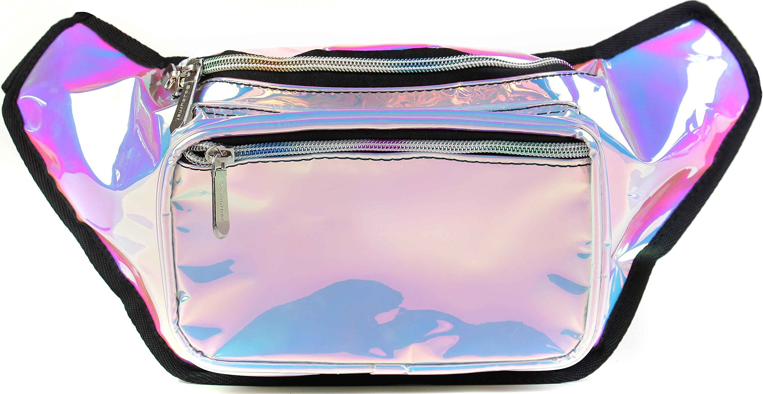 SoJourner Holographic Rave Fanny Pack - Packs for festival women, men | Cute Fashion Waist Bag Belt Bags (Luminous Pink & Blue)