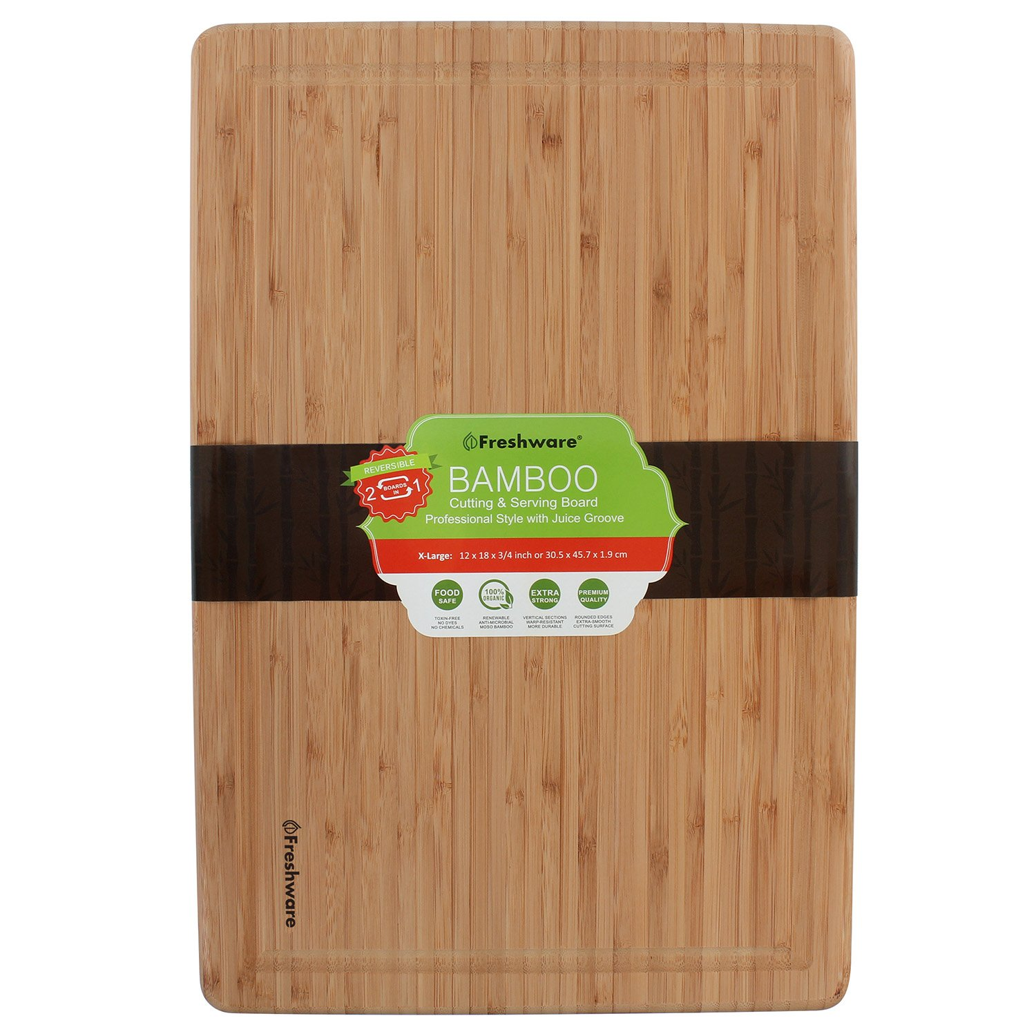 Freshware Bamboo Cutting Board with Juice Groove, Extra Large, 18x12-Inch