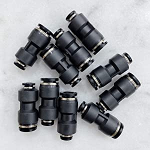 """MacCan Pneumatic PG3/8-1/4 Union Reducer 3/8"""" x 1/4"""" Tube OD Air Push to Connect Fittings (Pack of 10)"""