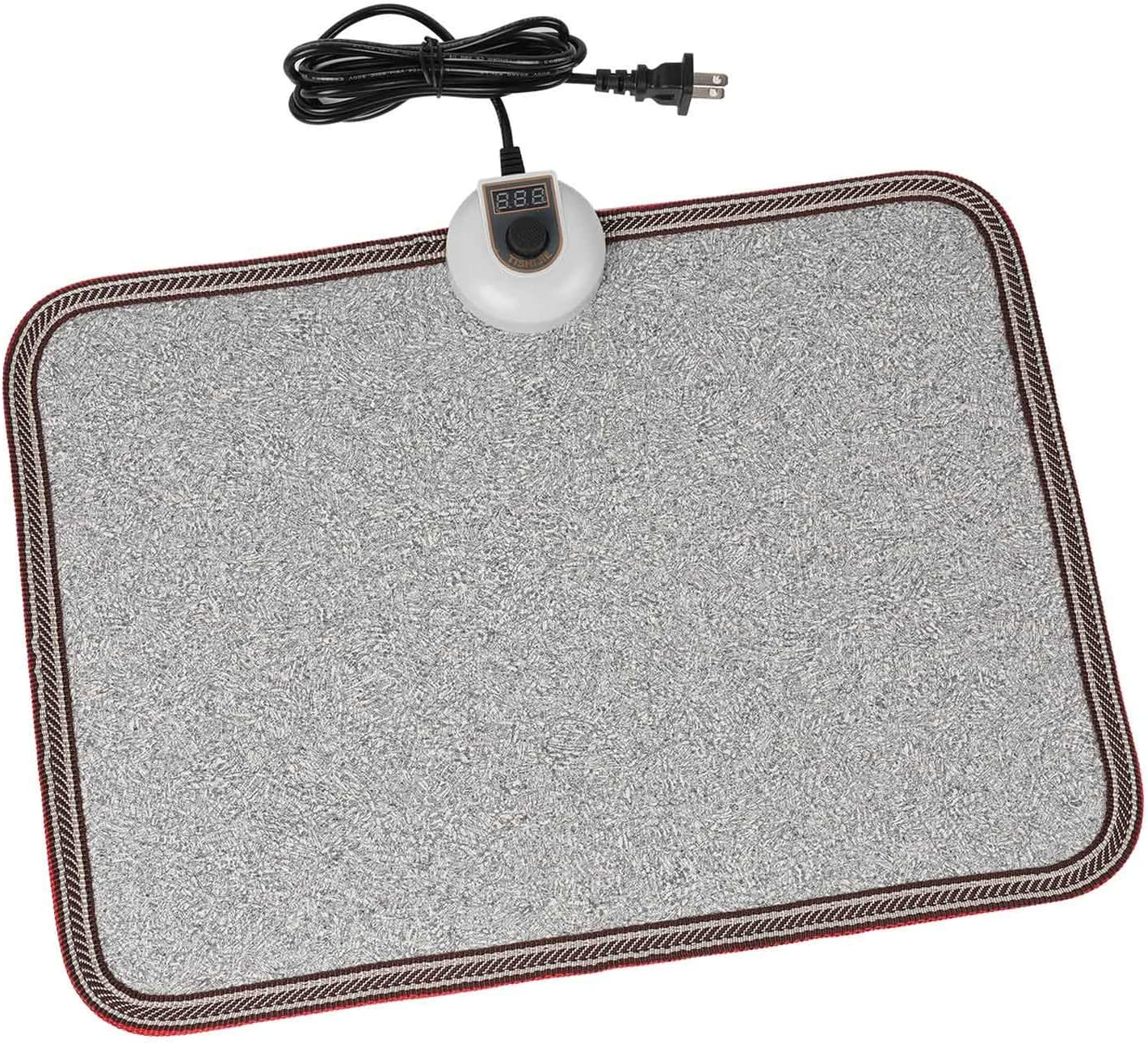 TISHIJIE Electric Heated Foot Warmer Mat - Toes Warming Heater, Heated Floor Mats Under Desk for Office and Home (Stone Grain)