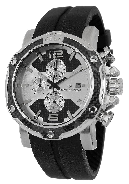 Herzog & Söhne HS201-112 - Reloj analógico de Cuarzo para Hombre, Correa de Silicona Color Negro (cronómetro, Agujas luminiscentes, Cifras luminiscentes)