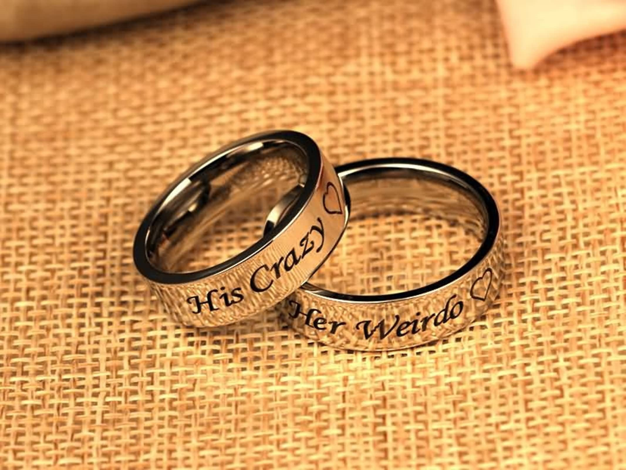Daesar 1PCS Couple Ring Bands Stainless Steel Ring Engraved His Crazy Heart Silver Wedding Rings Ring Size 11 by Daesar (Image #2)