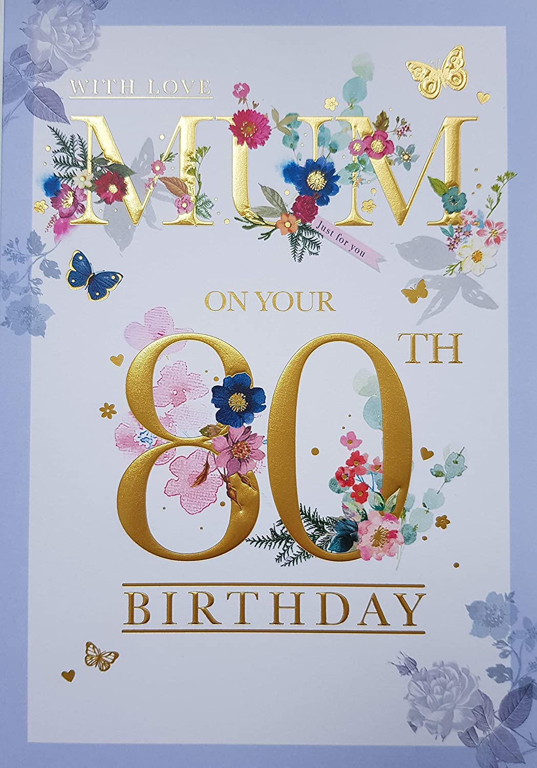 WITH LOVE MAMAN 80th 80 Fleurs /& Cup Cake Design Happy Birthday Card Lovely Verset