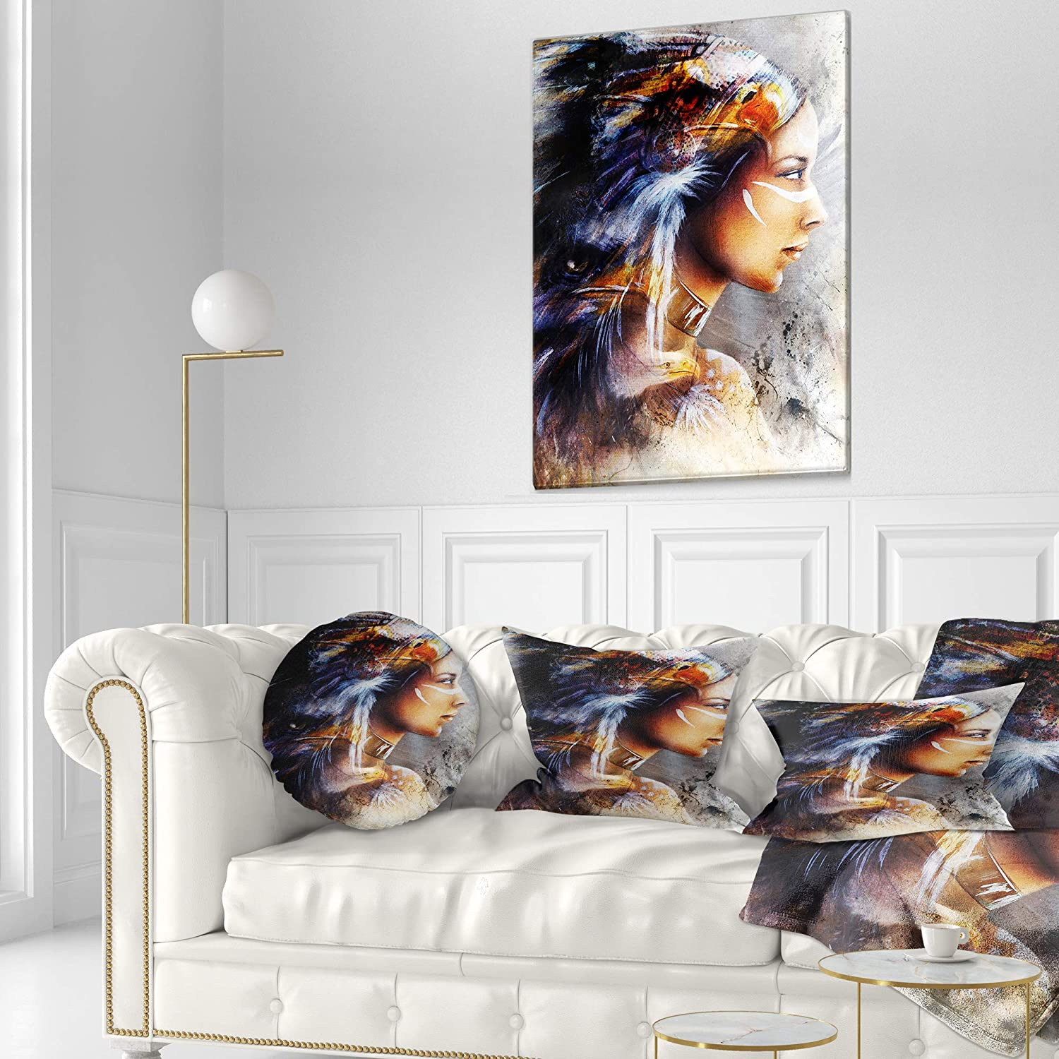 Sofa Throw Pillow 16 Designart CU6176-16-16-C Woman with White Horse Eagles Indian Round Cushion Cover for Living Room