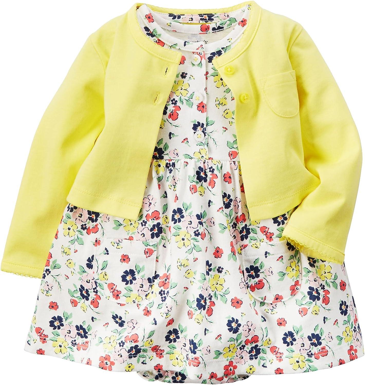 De feuilles Toddler Baby Girls 2 Pcs Dress Set Long Sleeve Dress and Cardigan