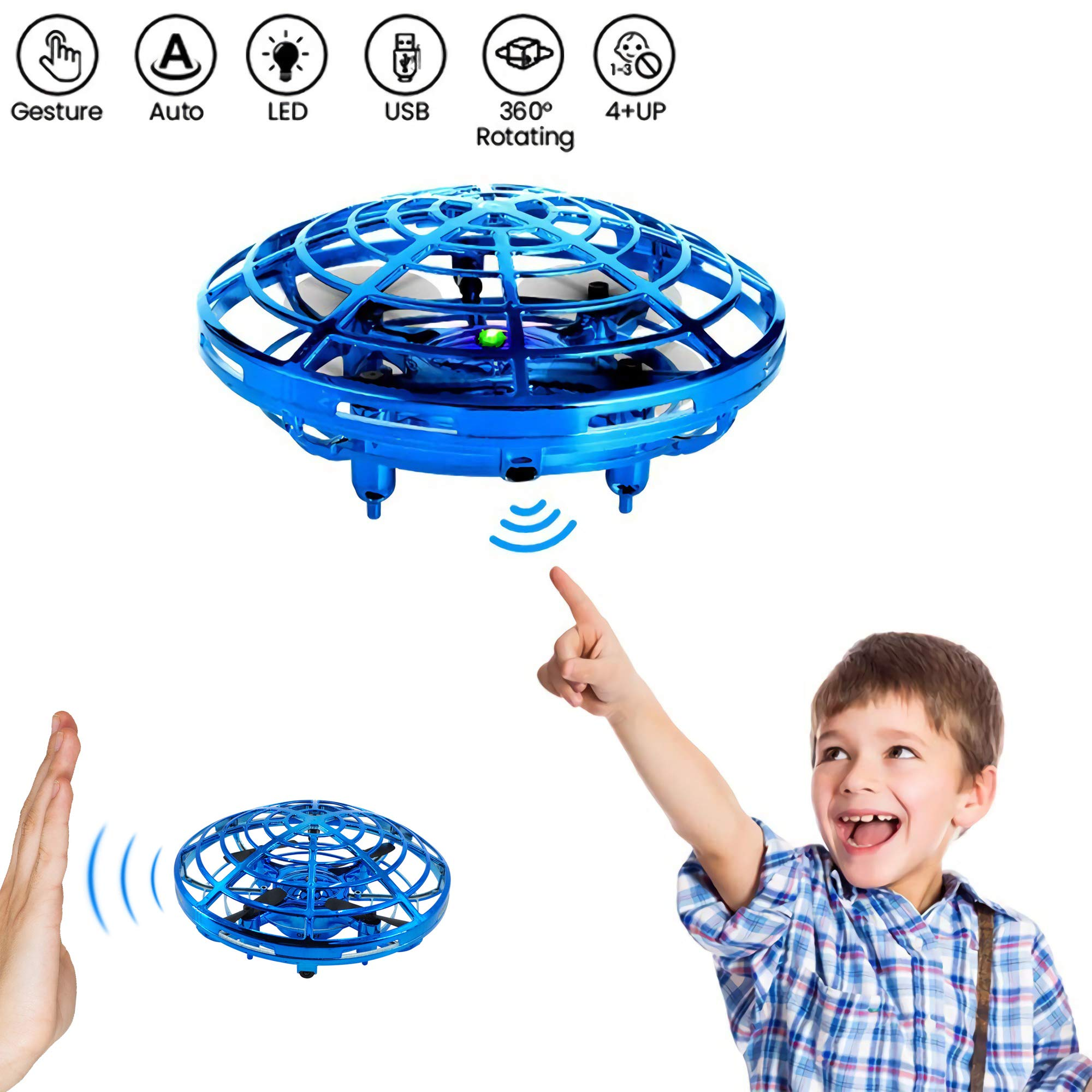 Bix Flying Toys Drone, Hand-Operated Flying Ball, Interactive Infrared Induction Helicopter Ball 360° Rotating Shinning LED Lights, Flying Toy Boys Girls Kids Holiday Birthday Gifts by Bix
