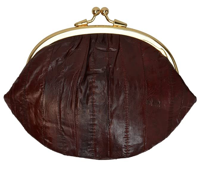 EEL SKIN LADY/'S LARGE COIN PURSE CARD CHANGE HOLDER DOUBLE CLASP WALLET