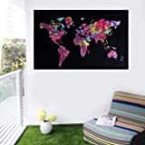 Heyrumbh Handicrafts Psychedelic Bohemian World Map Small Tapestry Printed Wall Hanging Cotton Poster (40 X 30 inches)