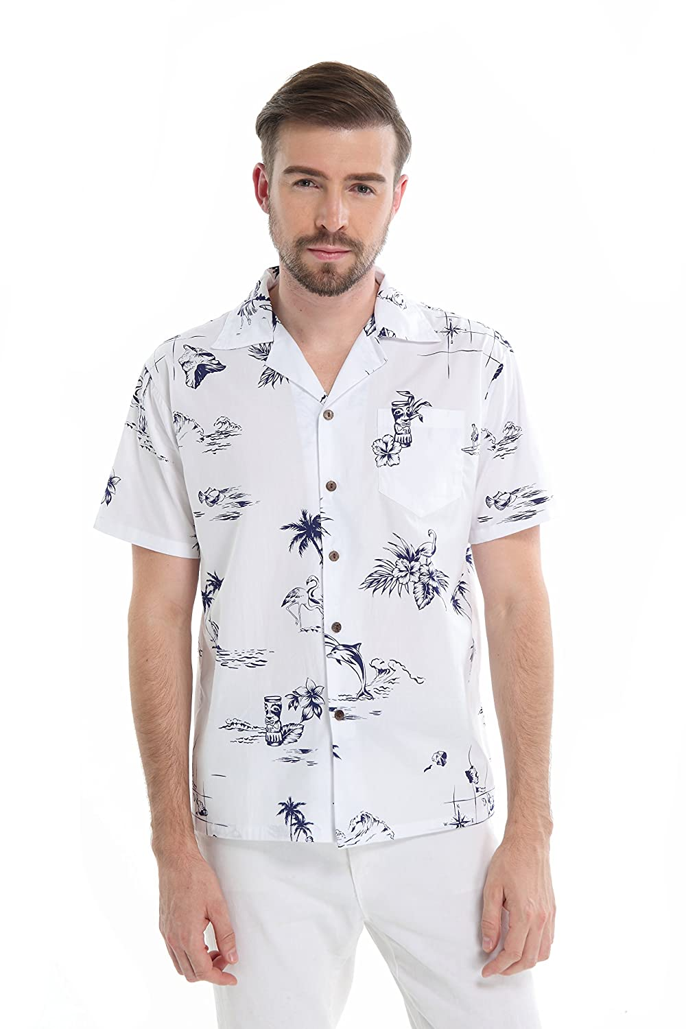 Matching Father Son Hawaiian Luau Outfit Men Shirt Boy Shirt Shorts Classic White Flamingo