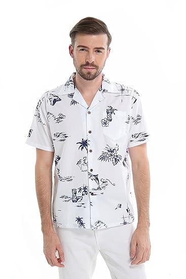 Hombres Aloha Camisa Hawaiana en Piña Azul Vintage: Amazon.es ...