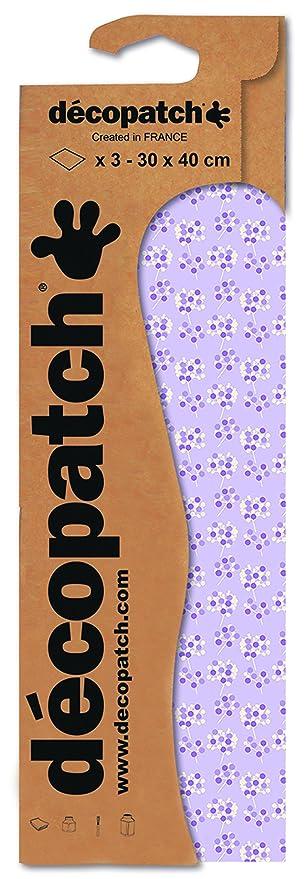 3er Pack Decopatch Papier No 740 violett wei/ß Streubl/ümchen, 395 x 298 mm
