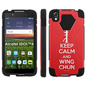 Alcatel One Touch IDOL 4 [Nitro 4/49] Phone Cover, Keep Calm and Wing Chun - Black Hexo Hybrid Armor Phone Case for Alcatel One Touch IDOL 4 [Nitro 4/49]