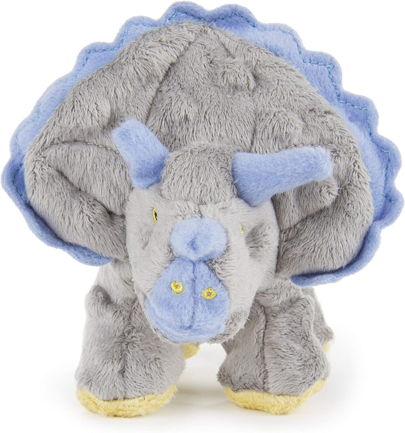 Pet Supplies : Pet Chew Toys : goDog Dinos Triceratops With Chew Guard Technology Tough Plush Dog Toy, Grey, Small :