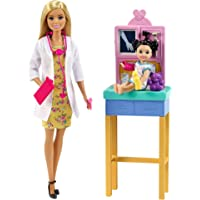 Barbie Pediatrician Playset, Blonde Doll (12-In/30.40-cm), Exam Table, X-Ray, Stethoscope, Tool, Clip Board, Patient…