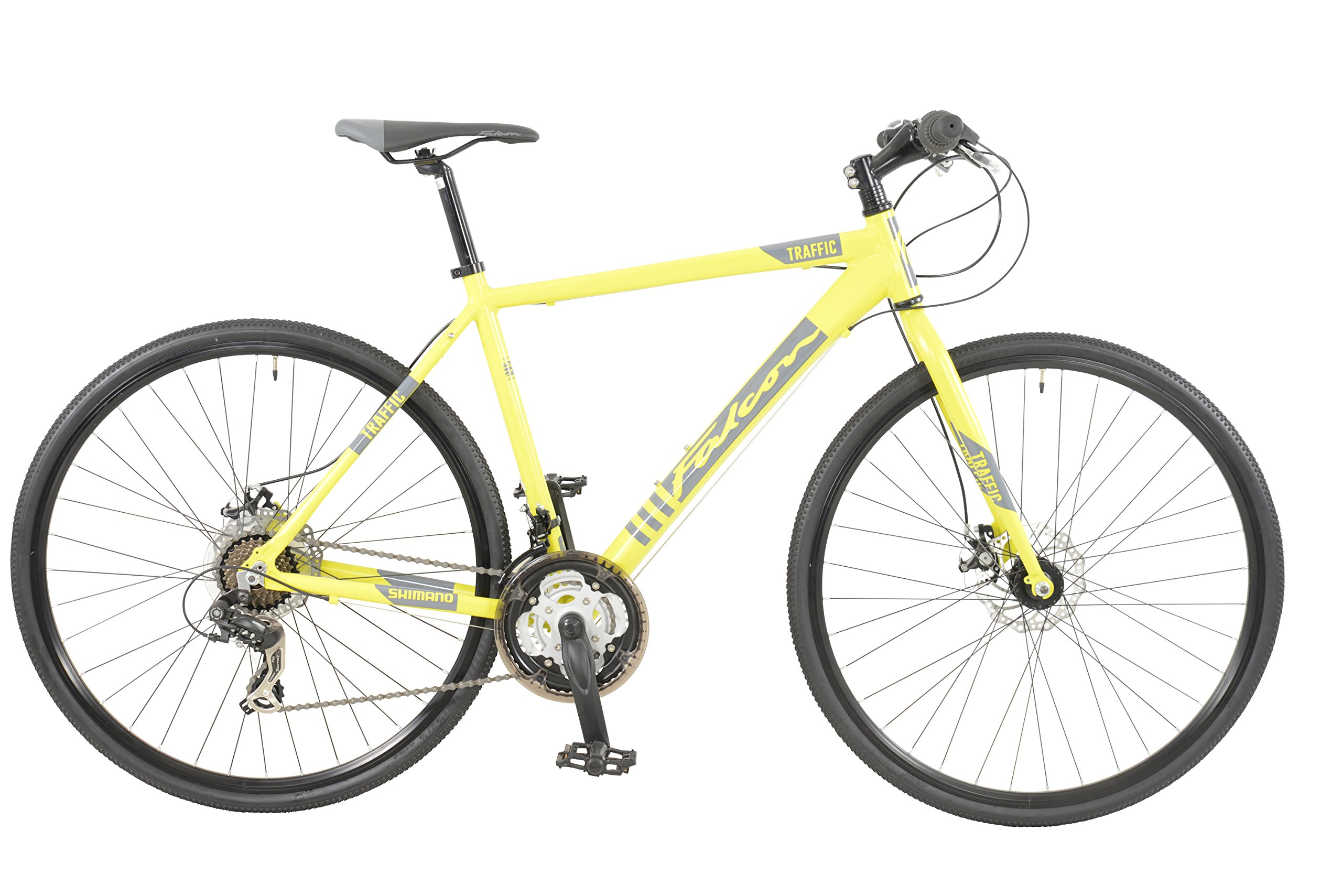 Falcon Traffic Mens' Mountain Bike Yellow, 19'' inch aluminium frame, 21-speed rigid straight blade fork larger 700c tyres by Falcon