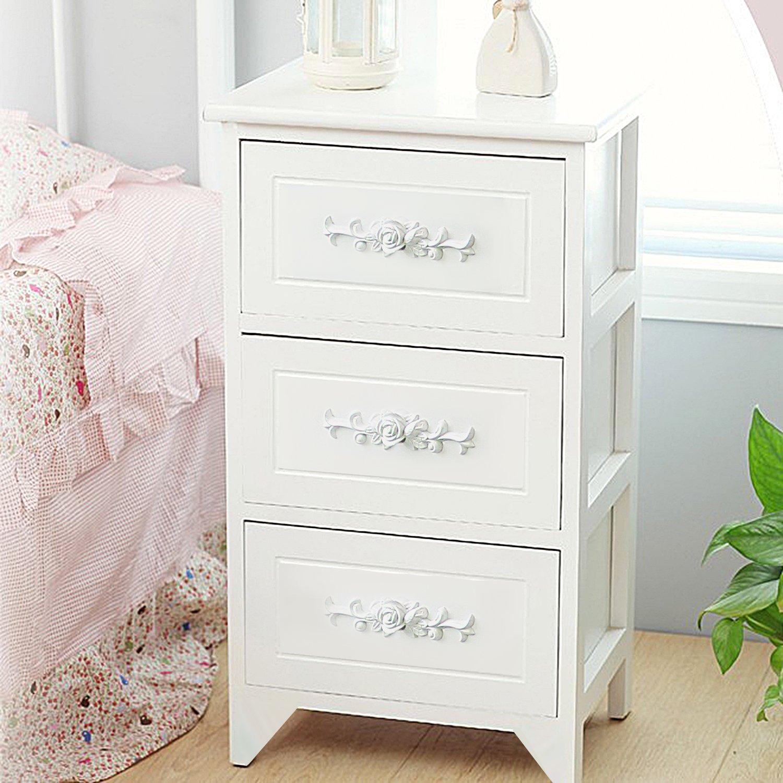 DL furniture - Fully Assembled Tone Finish Night Stand 3 Drawer Storage Shelf Organizer | White