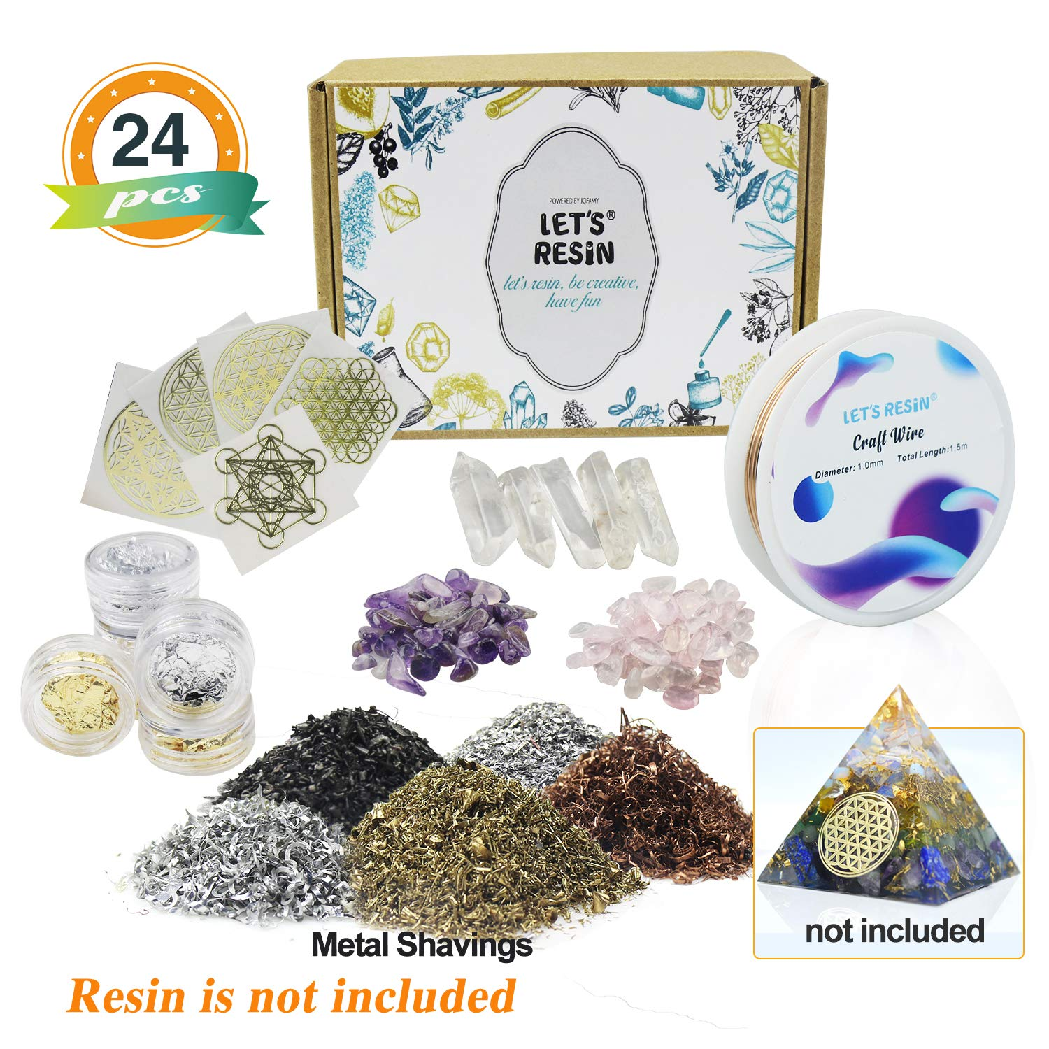 Orgone Pyramid Making Supplies LET'S RESIN Orgone Orgonite Supplies with Metal Shavings, Quartz Crystals, Stones, Foil for Orgone Orgonite Pyramids, Orgonite Jewelry (Not Including Resin or Mold) by LET'S RESIN