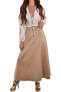 033e27e9f05020 Style J Khaki Queen Denim Skirt at Amazon Women's Clothing store: