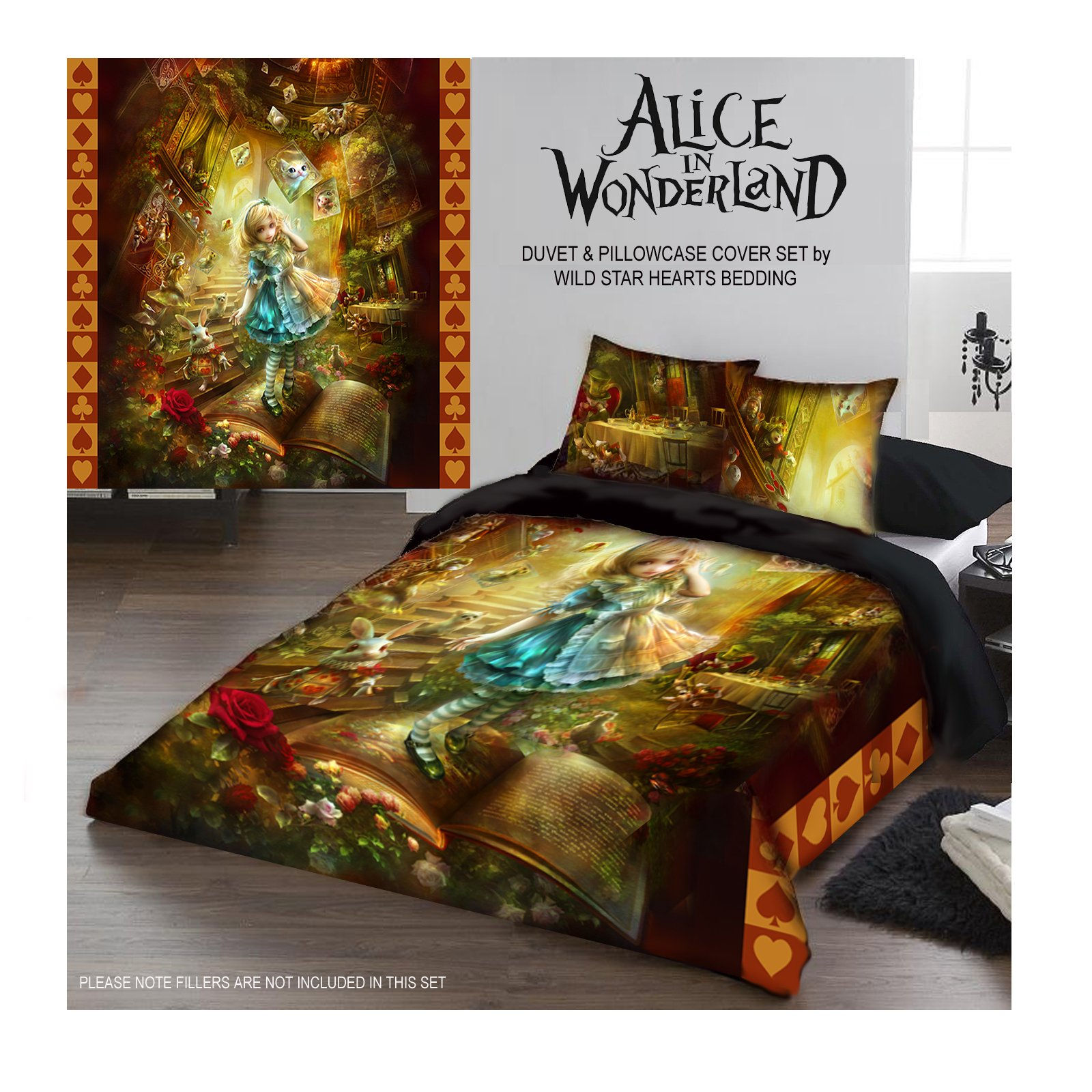 ALICE IN WONDERLAND Duvet & Pillows Case Covers Set for Queensize Bed by Wild Star Home